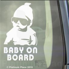 Cool Baby on Board-WHITE-Car,Van,Door,Sticker,Sign,Safety,Warning,Decal,Fun
